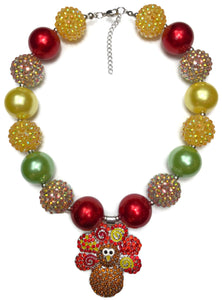 Thanksgiving Turkey Chunky Bubblegum Necklace