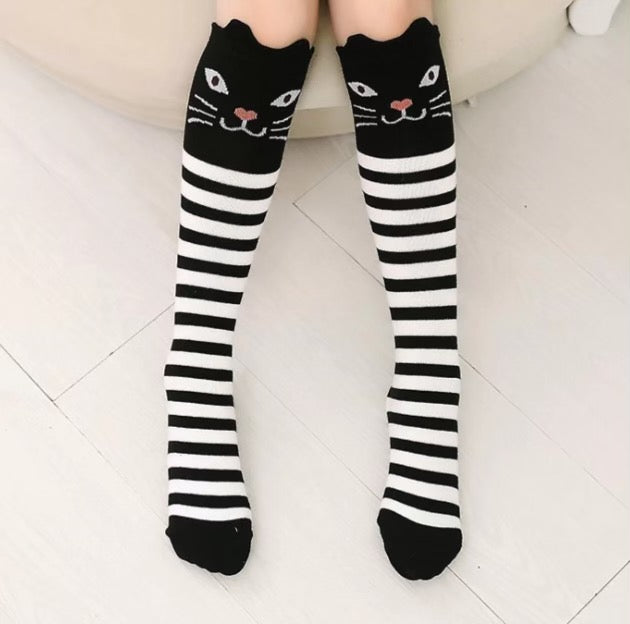 Black and White Striped Cat Knee High Socks