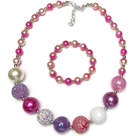 Candy Crush Chunky Bubblegum Necklace with Bracelet Set