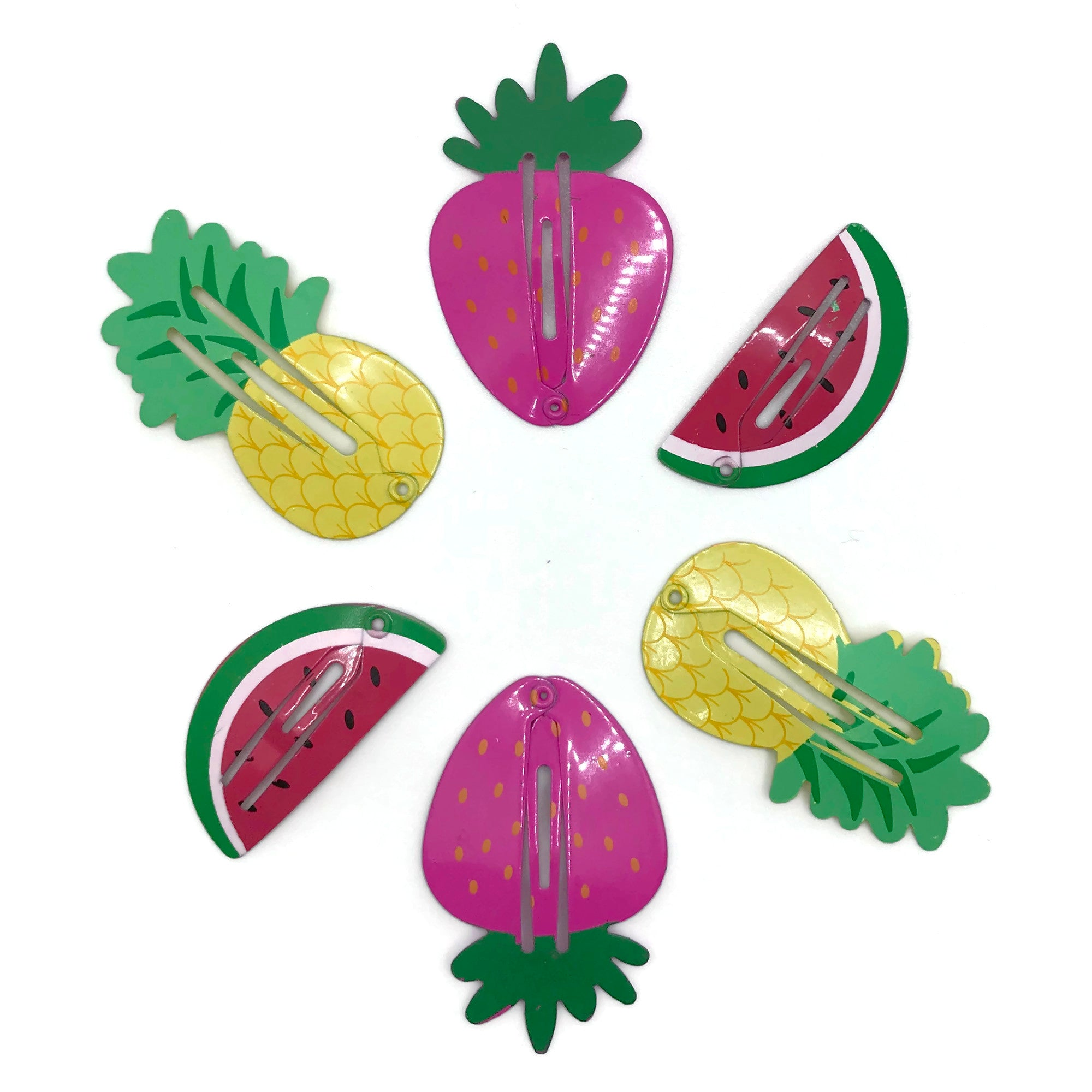 Watermelon, Pineapple & Strawberry Hair Clip Set