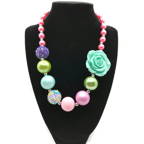 Turquoise Rose Chunky Bubblegum Necklace