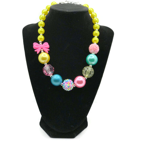 Pink Bow Spring Chunky Bubblegum Necklace