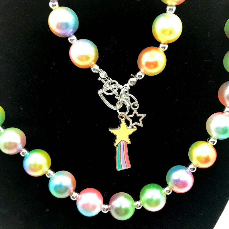Shooting Star Chunky Bubblegum Necklace with Bracelet Set