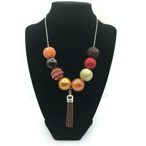 Brown Leather Tassel Chunky Bubblegum Necklace