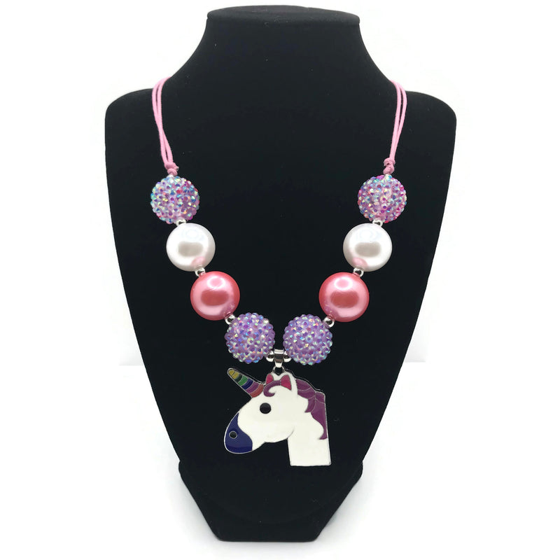 Unicorn Chunky Bubblegum Necklace with adjustable cord