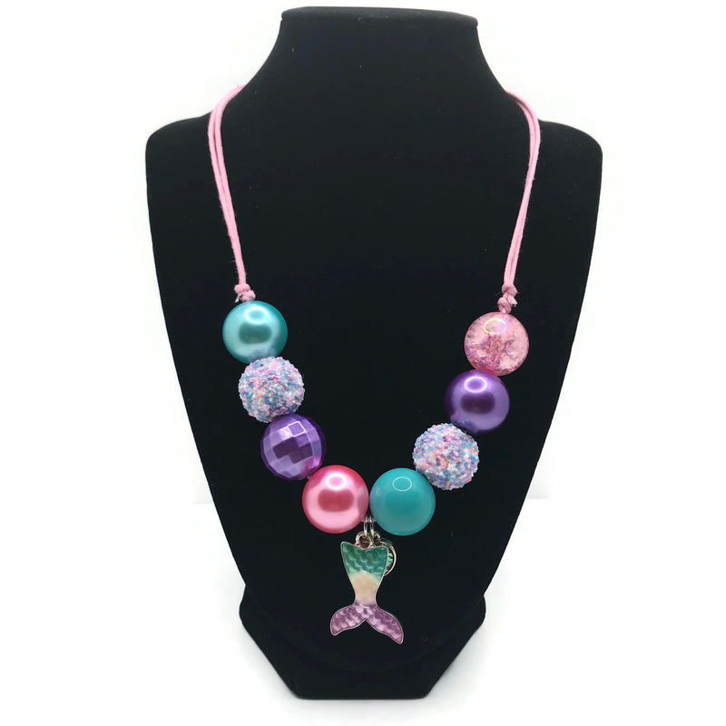 Mermaid Tail with Heart Charm Chunky Bubblegum Necklace with Adjustable Cord