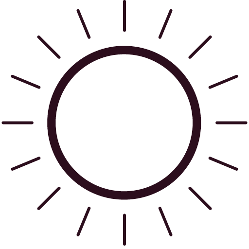 an icon of a sun rotating, sun screen should be worn at all times in summer