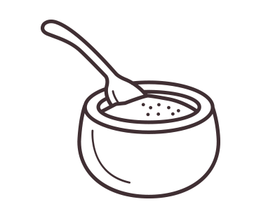 Bowl of raw sugar illustration