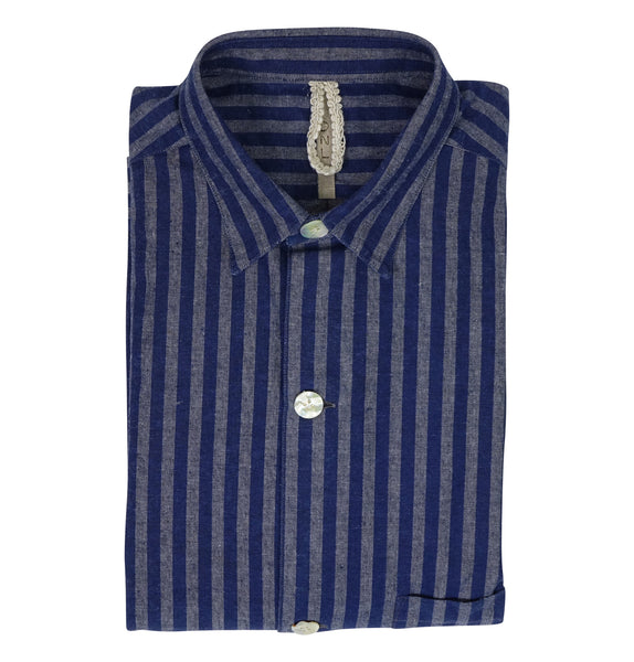 DNL Blue & Grey Striped Shirt
