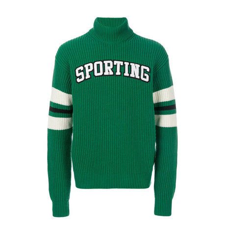 MSGM Green Turtleneck Jumper