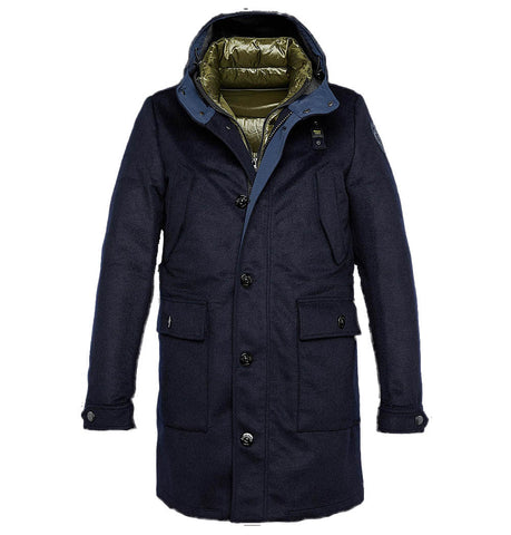 Blauer Blue Technical Wool Trench Coat