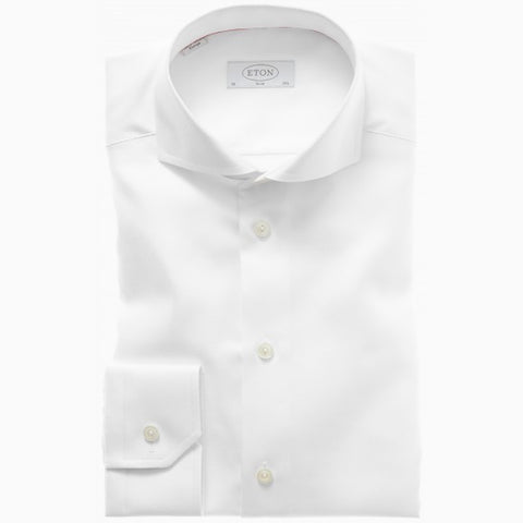 Eton Solid White Twill Shirt