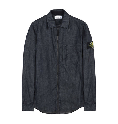 Stone Island Blue Wash Denim Shirt