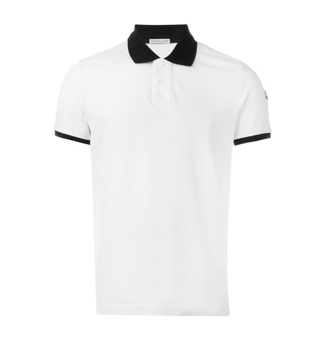 Moncler Contrasting White Polo Shirt
