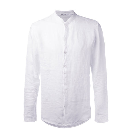 Transit White Linen Collarless Shirt