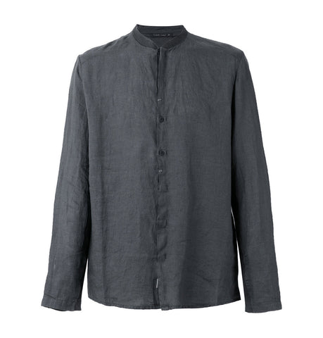 Transit Dark Grey Linen Collarless Shirt