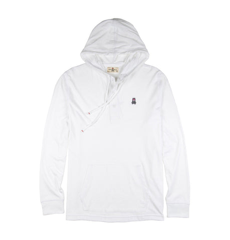 Psycho Bunny White Diggle Button Placket Hoodie