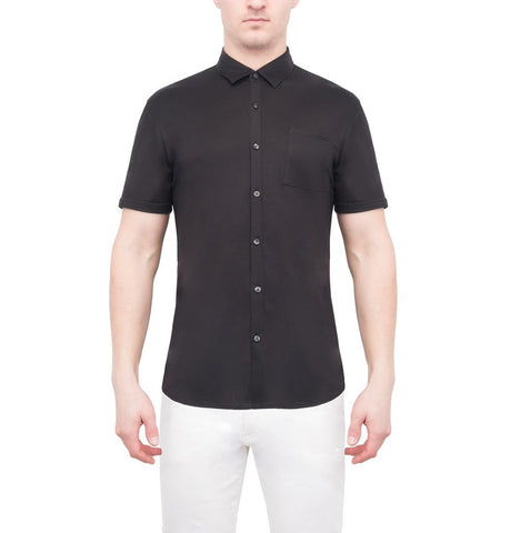 Patrick Assaraf Black Silk/Cotton Shirt S/S