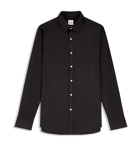Hardy Amies Black Slub Cotton Shirt