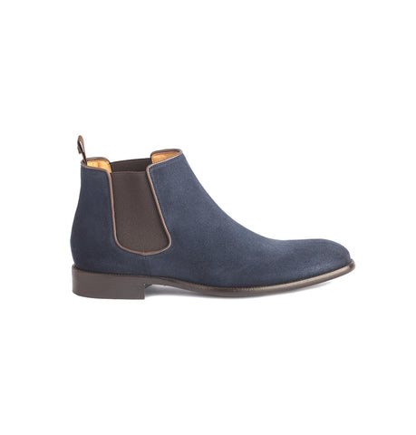 Paradigma Blue Calf Suede Chelsea Boots