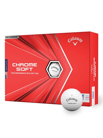 Callaway Chrome Soft 2020 Golf Balls - 1 Dozen White Triple Track