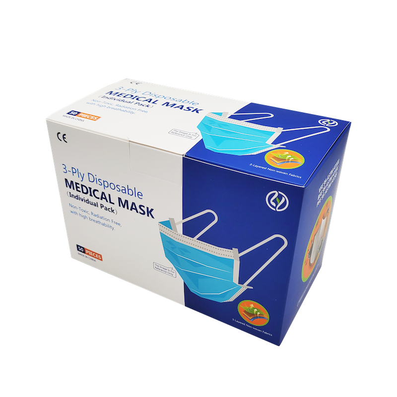 3 - Ply Disposable MEDICAL MASK ADULTS 成人口罩 50 片 獨立包裝