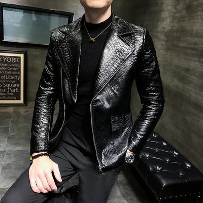 Snake Print Leather Jacket - Pop Music, pop artists, top 40 songs, pop music lyrics, sites like fashionova - Jim Mullin Official