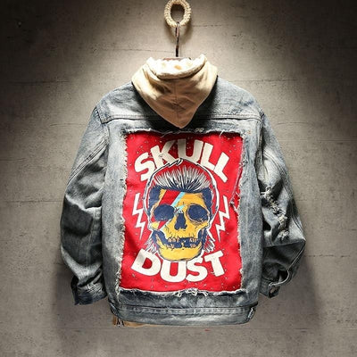 Skull Dust Vintage Black & Blue Denim Jacket - Pop Music, pop artists, top 40 songs, pop music lyrics, sites like fashionova - Jim Mullin Official