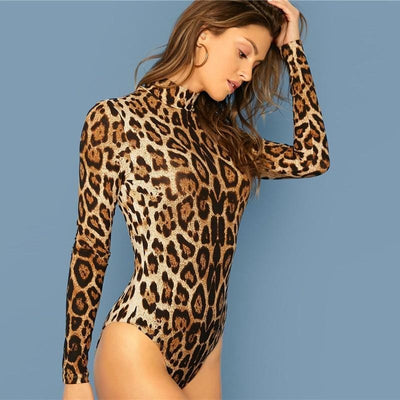 Stand Collar Leopard Print Bodysuit - Pop Music, pop artists, top 40 songs, pop music lyrics, sites like fashionova - Jim Mullin Official