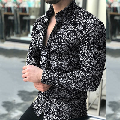 Floral Designer Collar Long Sleeve Shirts - Pop Music, pop artists, top 40 songs, pop music lyrics, sites like fashionova - Jim Mullin Official