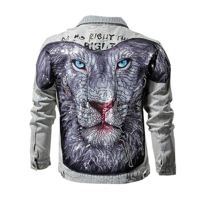 Sequin Lion Denim Jacket - Pop Music, pop artists, top 40 songs, pop music lyrics, sites like fashionova - Jim Mullin Official