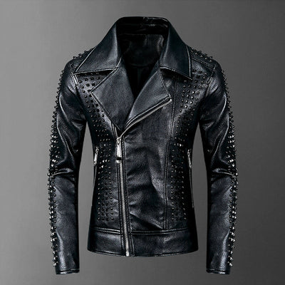 Rivet Motorcycle PU Leather Jacket - Pop Music, pop artists, top 40 songs, pop music lyrics, sites like fashionova - Jim Mullin Official