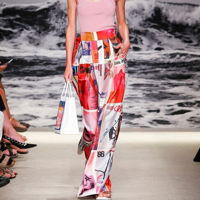 Graffiti Print Runway Fashion Boho High Waist Pants - Jim Mullin Official