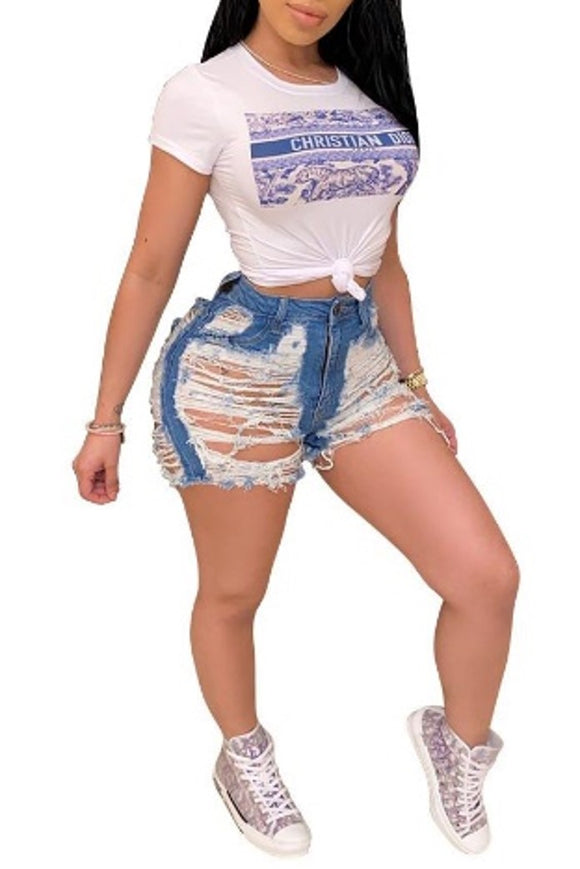 Hot Girl Distressed Jean  Shorts