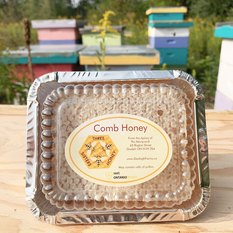 Three Sisters Comb Honey in container