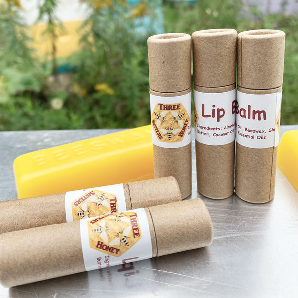 collection of beeswax lip balm tubes