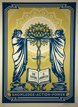 "Shepard Fairey ""Knowledge + Action = Power"" Blue/Gold Obey Print"