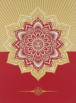 "Shepard Fairey ""Holiday Mandala"" Red/Gold 13' Obey Print"