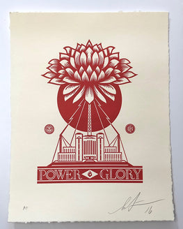 "Shepard Fairey ""Power Glory"" Obey Letterpress AP"