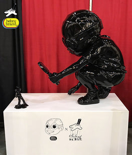 "Hebru Brantley 4 Foot Flyboy ""Fry"" Gloss Black Edition - Silent Stage Gallery"