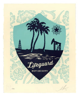 "Shepard Fairey ""Lifeguard Not On Duty"" Obey Letterpress AP"