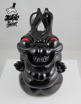 "Saturno ""Naughty Rabbit"" Gloss Black Edition Resin Sculpture - Silent Stage Gallery"