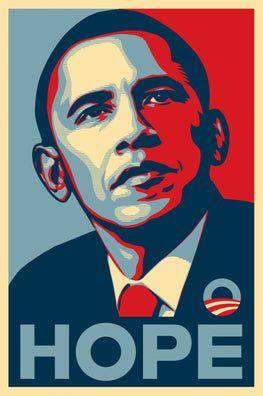 "Shepard Fairey Obama ""Hope"" Offset Print 2008 Official Campaign"