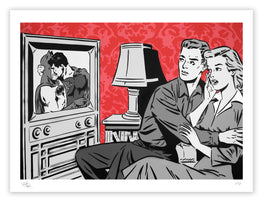 "Rich Simmons ""The Evening News"" Red Variant Fine Art Print"