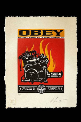 "Shepard Fairey ""Think & Create - Print & Destroy"" Obey Letterpress AP"