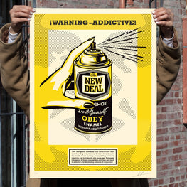 "Shepard Fairey ""Warning-Addictive"" Obey New Deal Print"