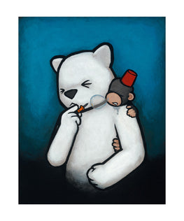 "Luke Chueh ""Monkey On My Back"" Rude Awakening Giclee Print - Silent Stage Gallery"