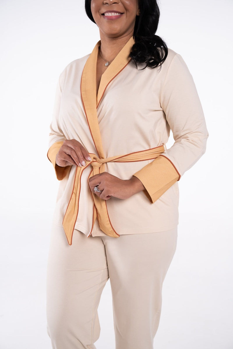 Rhea Cherie Long Lounge Set with long sleeves and pants in cream, tan and rust color