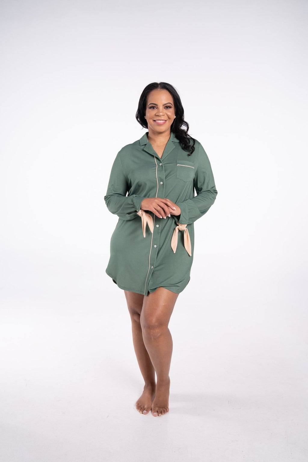 Rhea Cherie modern sleepshirt in green and tan bow sleeve accent