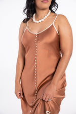 Rhea Cherie Silk Night Gown in rust color with tan button down the front